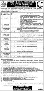 Bahawalpur Civil Hospital Jobs Jang Newspaper (Total 33 Jobs) 23 November, 2017