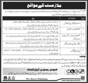 National Logistic Cell Department NLC Jobs 18th November 2017 Pakistan Express Newspapers have announced.