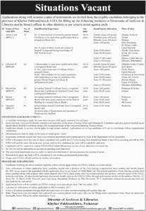 Khyber Pakhtunkhwa Directorate of Archives Junior Clerk Librarian Jobs 13th November 2017 The Dawn