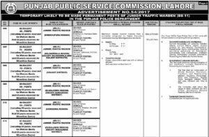 Punjab Public Service Commission Junior Traffic Warden Jobs 2017