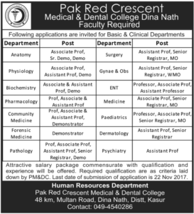 Health Dept Clinical Jobs Kasur 14th Nov, 2017 Nawa-i-waqt Newspapers Pak Red Crescent Medical Dental College