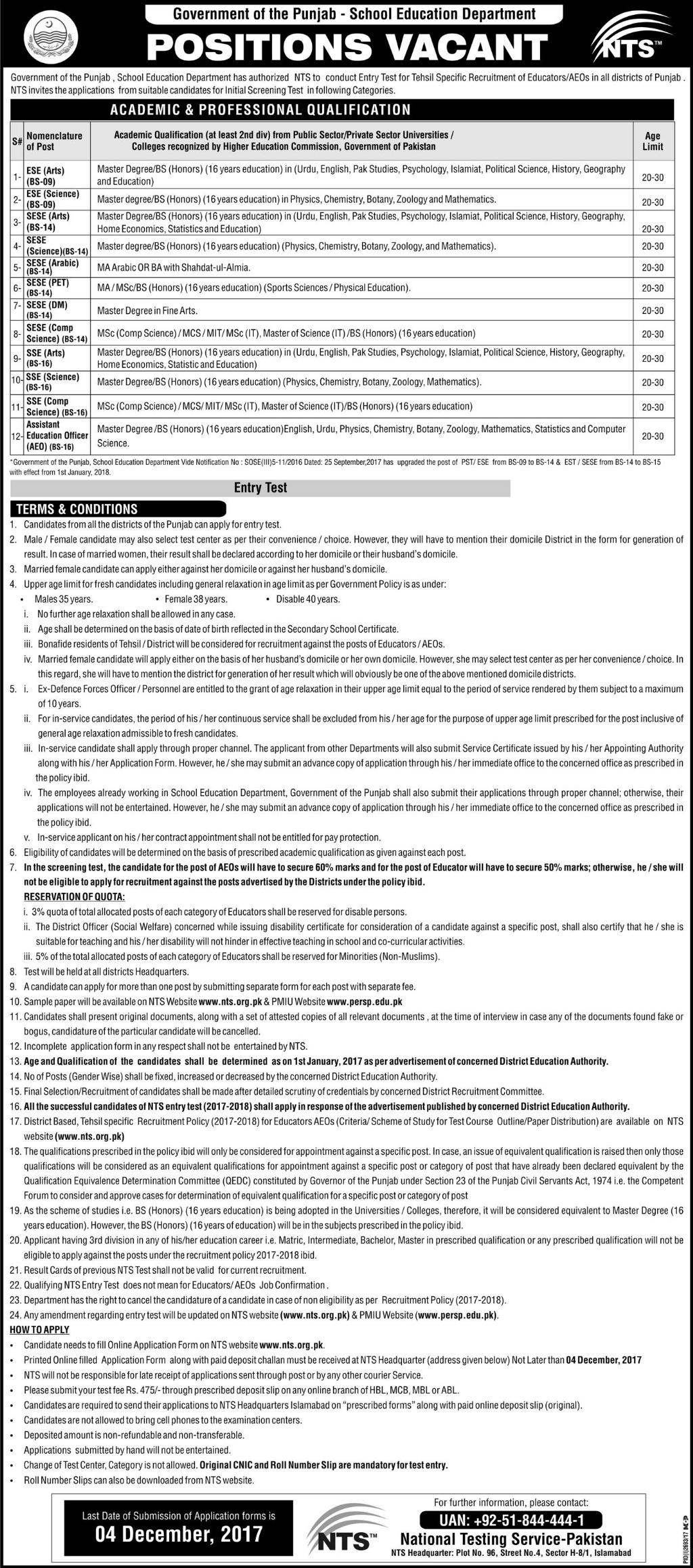 School Education Department Punjab Educators Jobs Express Newspaper 18th November, 2017