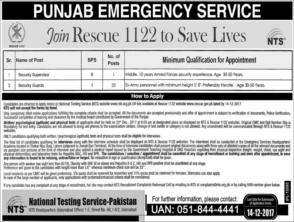 Punjab Emergency Service Rescue 1122 Jobs 26th November, 2017 (Total 33 Jobs) Express