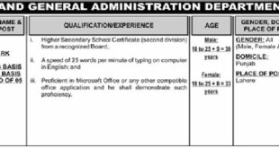 Punjab (S&GAD) Services And General Administration Department Junior Clerk (Total 125 Jobs) 12th November 2017 The Nation Newspapers