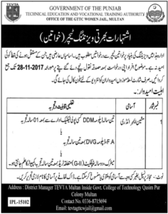 Vocational Training Institute Women Teachers Multan Jobs 17th November 2017 Nawa-i-waqt Newspaper