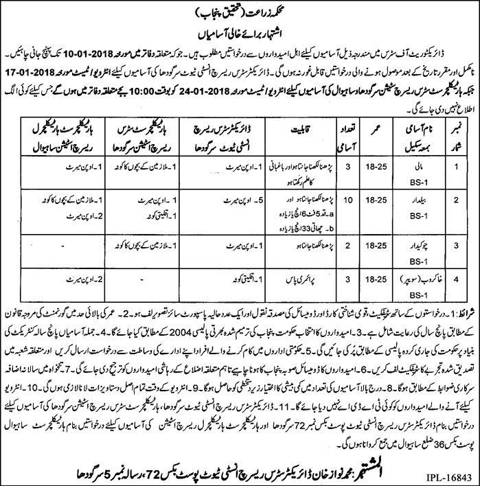 Sahiwal Sargodha Agriculture Citrus Research 18 Jobs Express Newspaper 20/12/2017