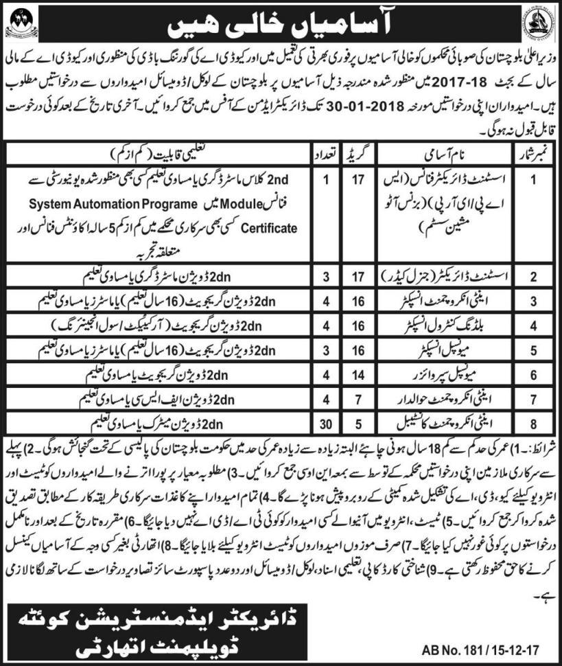 Quetta Development Authority 53 Jobs Express Newspaper 16 December 2017