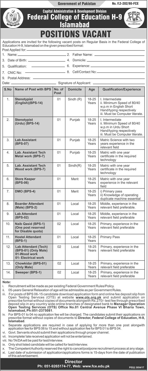Islamabad Federal College of Education 18 Jobs Jang Newspaper 10 December 2017