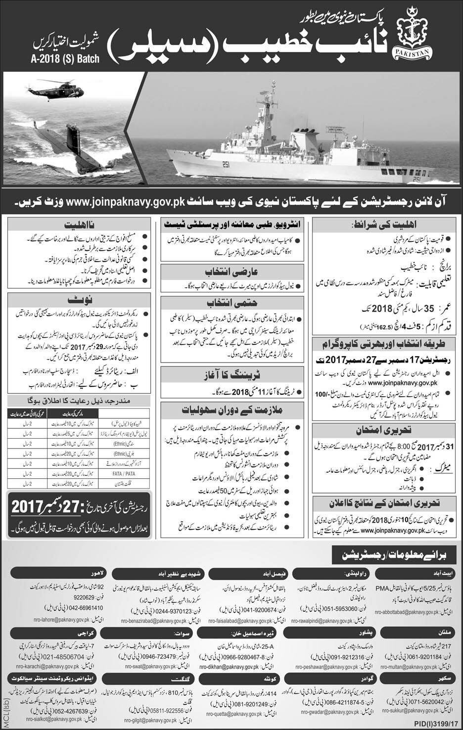 Naib Khateeb Sailor Navy Pakistan Jobs Express Newspaper 17 December 2017