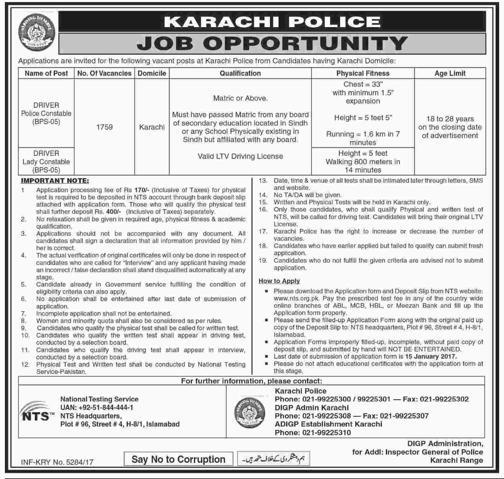 Karachi Police Constables (Drivers) 1759 Jobs Dawn Newspaper 21 December 2017