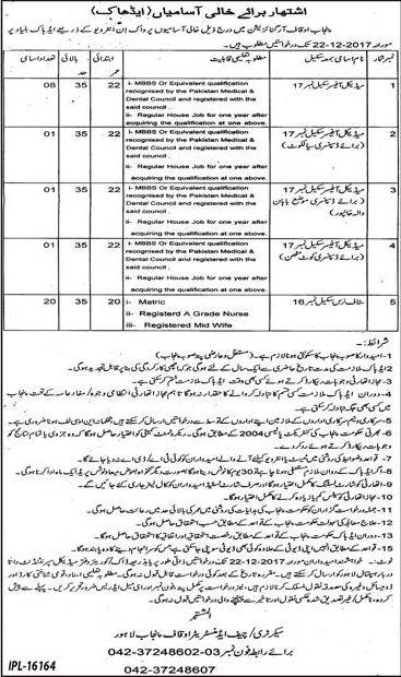 Aquaf Medical Lahore Punjab 31 Jobs Jang Newspaper 14 December 2017