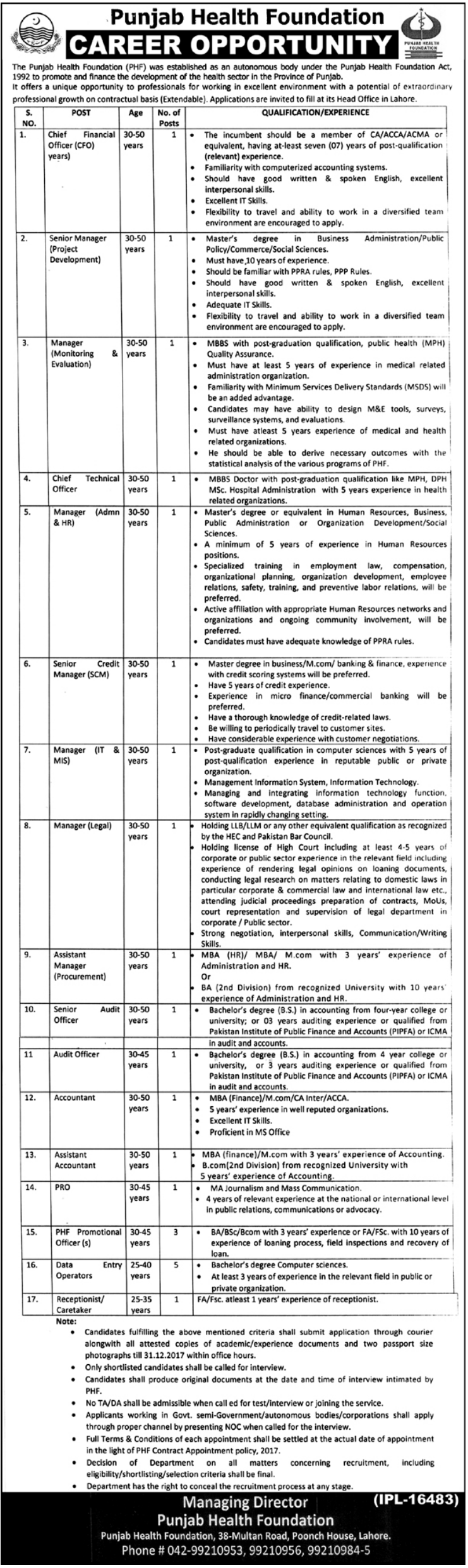 Lahore Punjab Health Foundation 23 Jobs The Nation Newspaper 15 Dec 2017