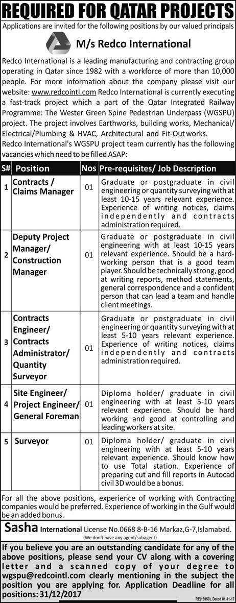 Qatar Jobs M/S Redco International Express Newspaper 17 December 2017