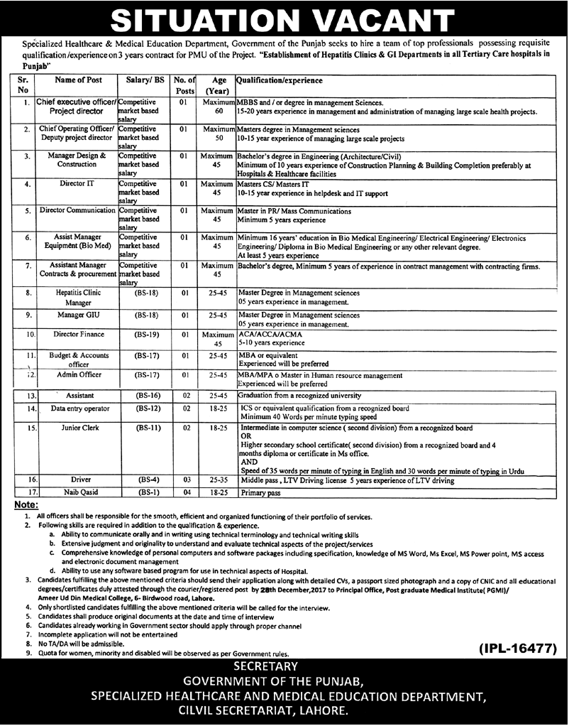 Lahore Specialized Healthcare & Medical Education 25 Jobs Nawa-i-waqt 15 December 2017