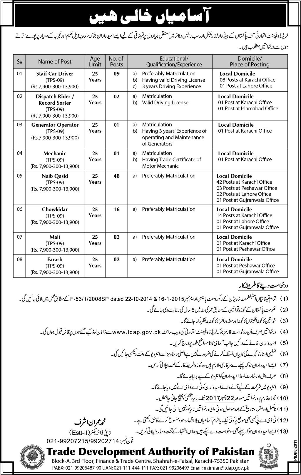 Pakistan Trade Development Authority 81 Jobs Jang Newspaper 05 December 2017