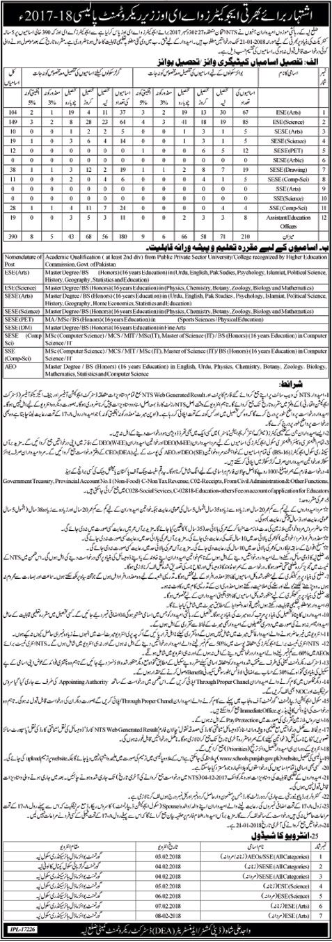 Layyah District Education Authority, Educators and AEO's 390 Jobs 30 December 2017 Khabrain Newspaper