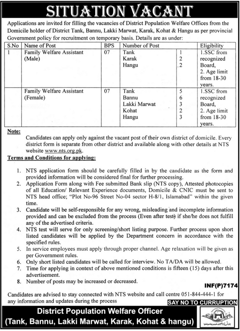 Govet KPK District Population Welfare Officers 24 jobs 23 December 2017 Mashriq Newspaper