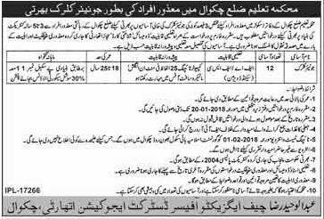 District Chakwal Education Department 12 Jobs 28 December 2017 Daily Khabrain Newspaper