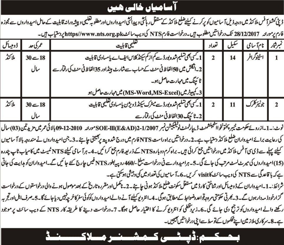 Malakand Deputy Commissioner Office 04 Jobs Mashriq Newspaper 16 Dec 2017
