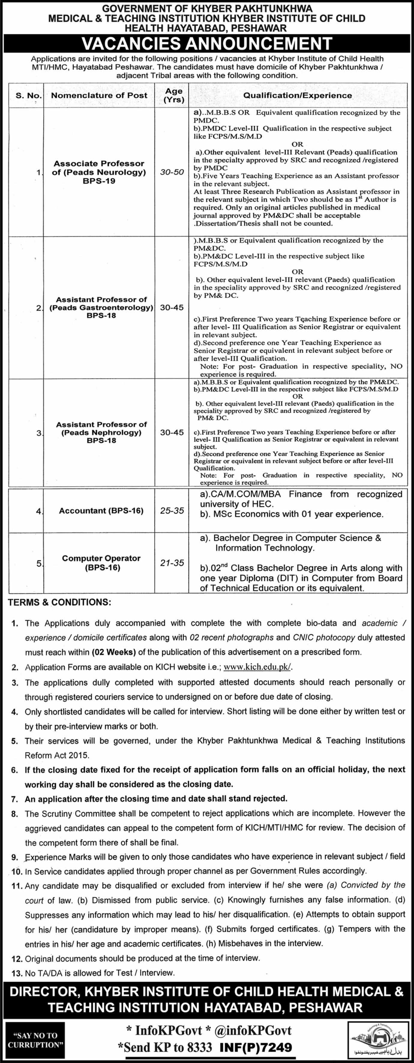 Hayatabad Medical & Teaching Institution Khyber Institute of Child Health 06 Jobs, 26 December 2017 Mashriq Newspaper