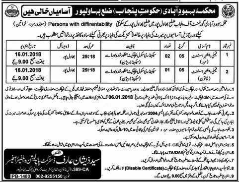 Bahawalpur Population Welfare Department 03 jobs 22 December, 2017 Daily Khabrein.