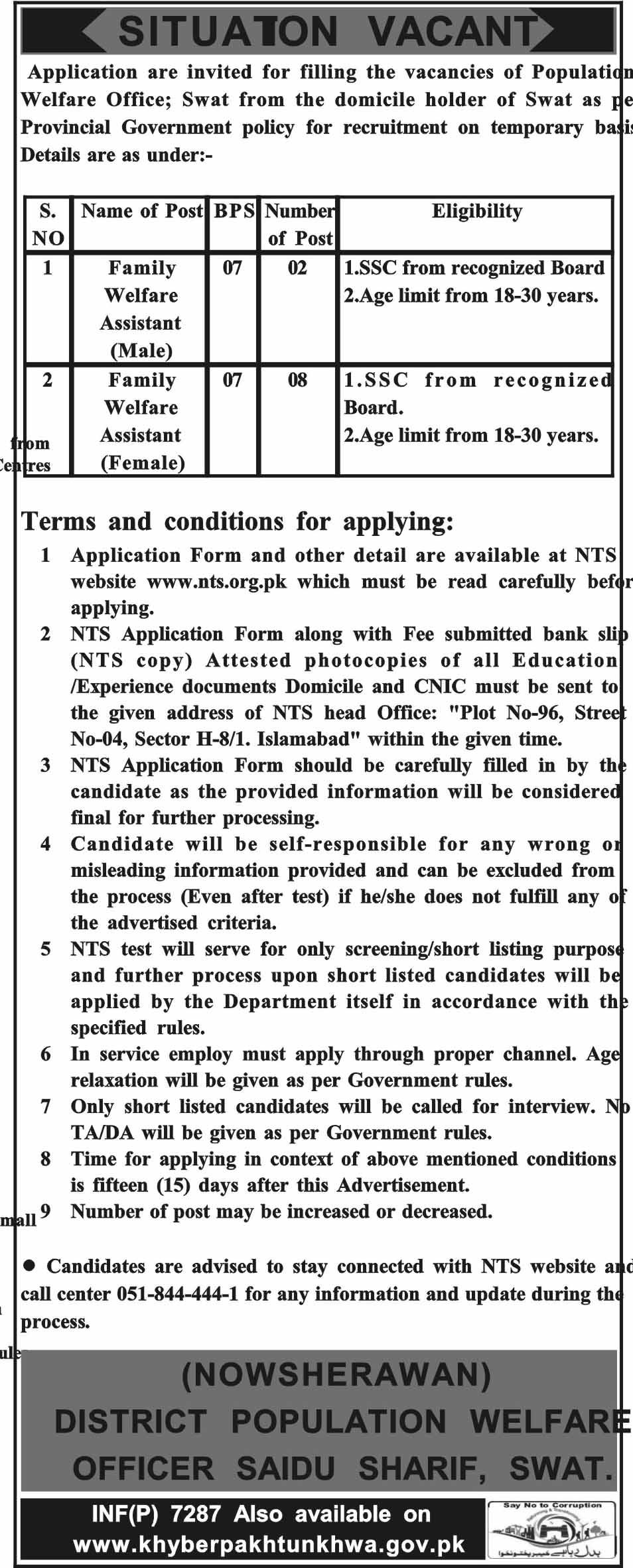 District Swat Population Welfare Department, 10 Jobs 26 December Daily Mashriq Newspaper.