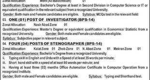 BPSC IT Jobs 12 January 2018 Jang Newspaper Quetta Balochistan Public Service Commission