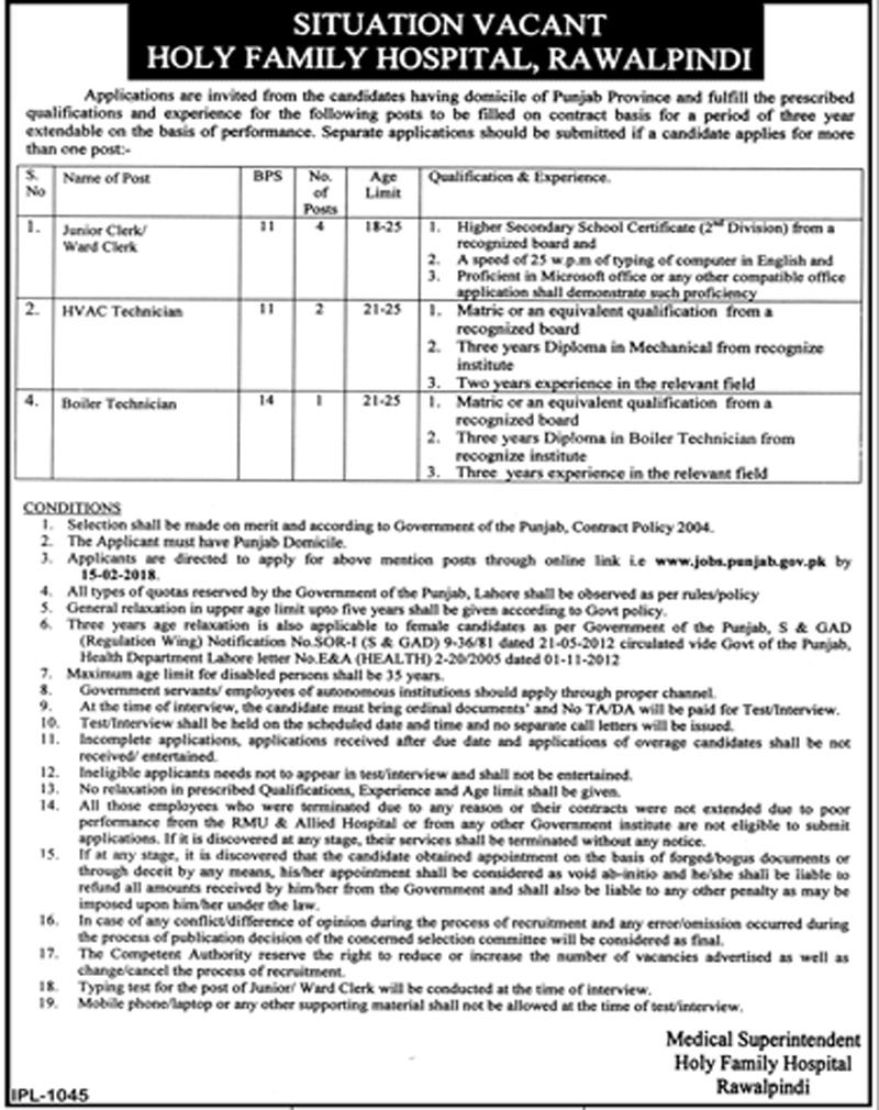 Rawalpindi Holy Family Hospital 07 jobs, 26 January 2018 Daily Jang Newspaper