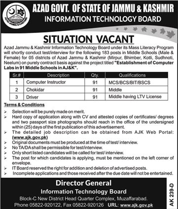Govt. of Azad Jammu & Kashmir, Information Technology Board, 273 Jobs 06 January 2018 Daily Dunya Newspaper.