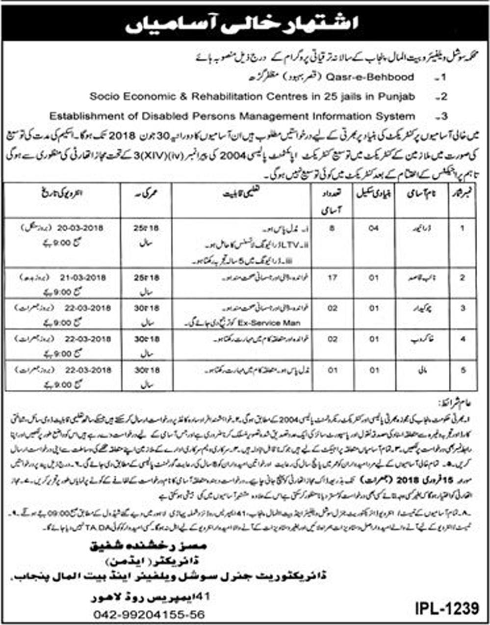 Punjab Social Welfare and Bait-Ul-Maal Punjab 30 jobs 29th January 2018, Daily Jang Newspaper