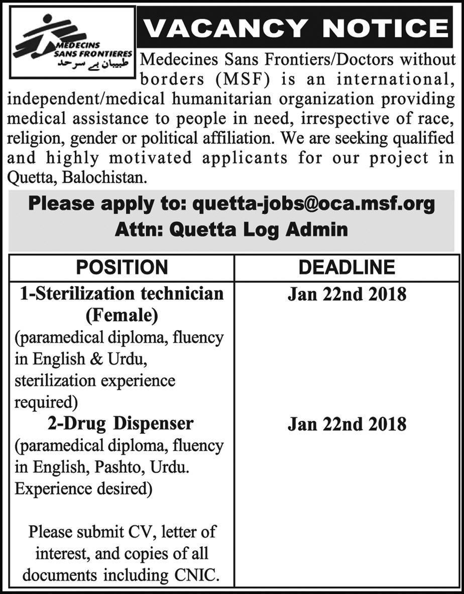 MSF NGO Jobs Express Newspaper Quetta Medecines Sans Frontiers 22/01/2018