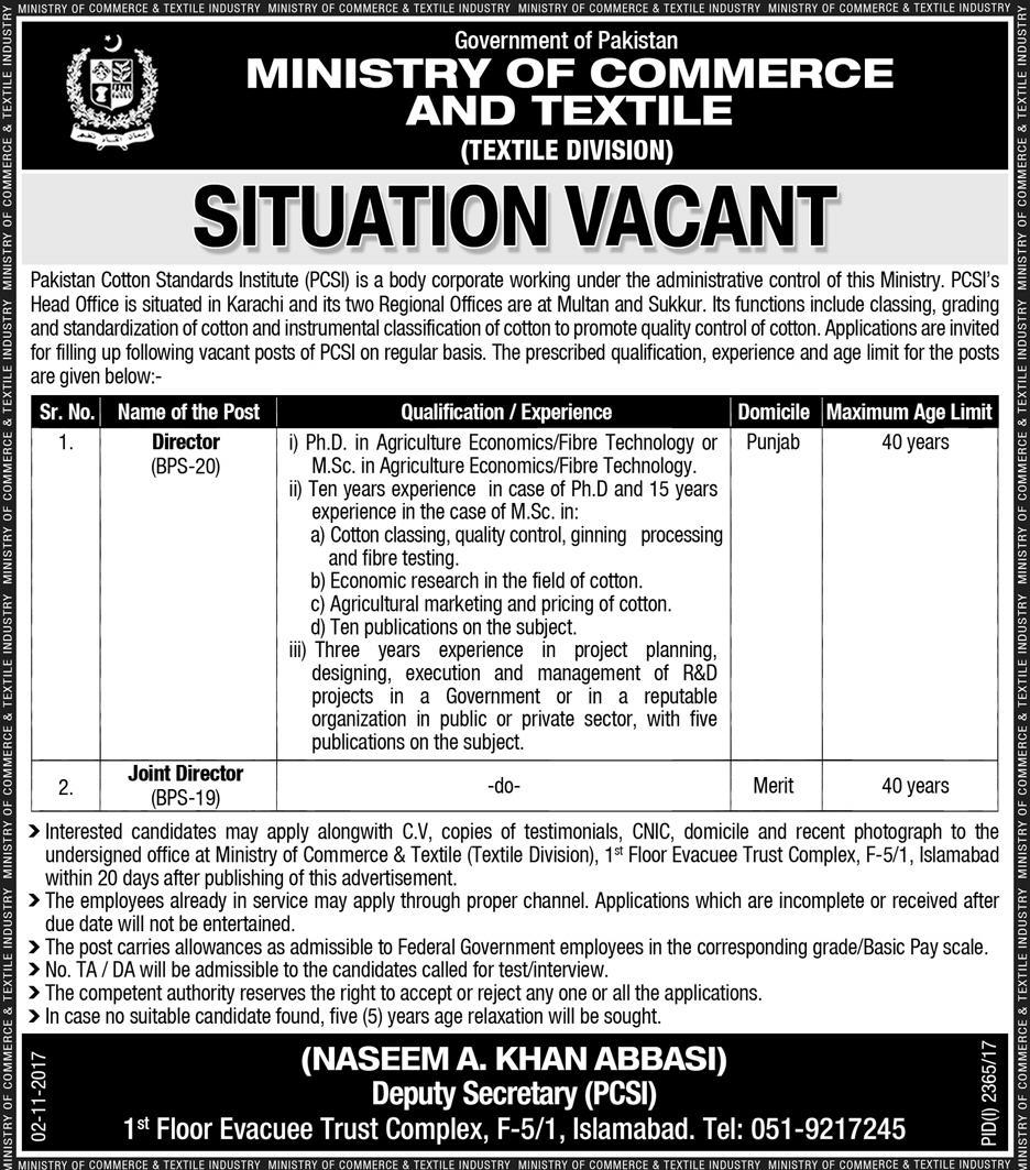 Punjab Ministry of Commerce and Textile Jobs Jang Newspaper 20/01/2018