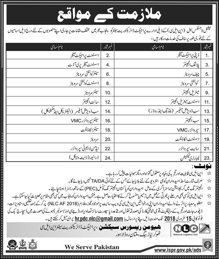 Job Opportunity in National Logistics Cell 27 January 2018 Daily Express Newspaper