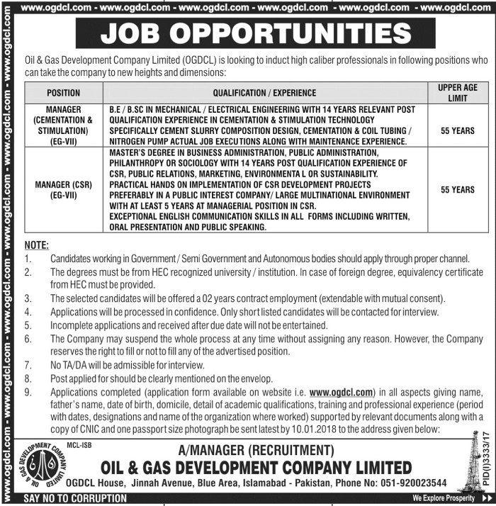 Islamabad OGDCL Jobs Jang Newspaper 10 January 2018