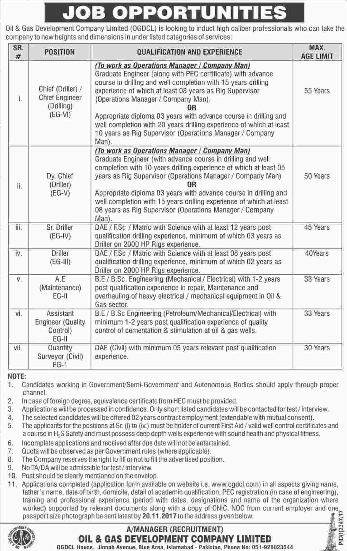 Islamabad Jobs OGDCL 10th January 2018 Nawaiwaqt Newspaper