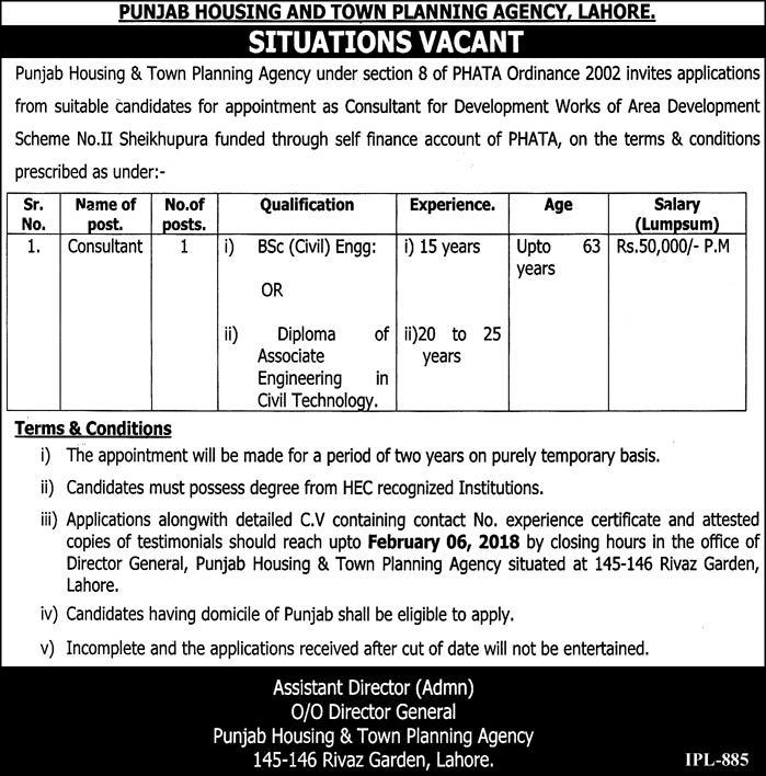 Lahore Punjab Housing & Town Planning Agency Jobs Express Newspaper 23/01/2018