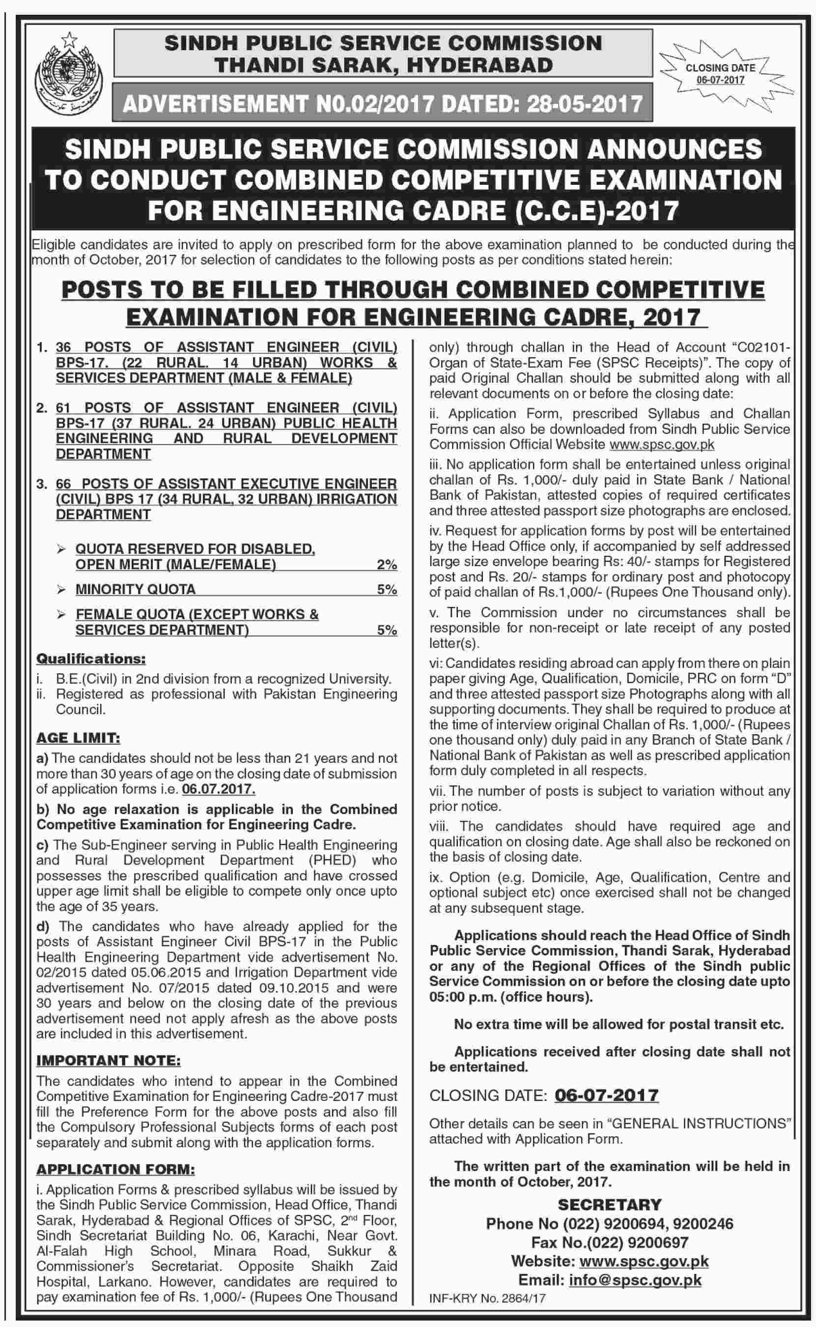 Sindh Public Service Commission 163 Jobs 19 January 2018 Jang Newspaper