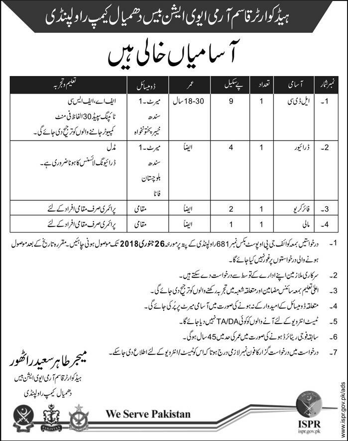 Rawalpindi Head Quarter Qasim Army Aviation Base Dhamyal Camp 04 Jobs 05 January 2018 Daily Express.