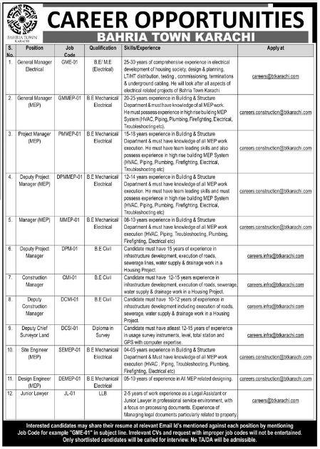 Karachi, Bahria Town Career Opportunities 24 Jan 2018 Daily Jang Newspaper.