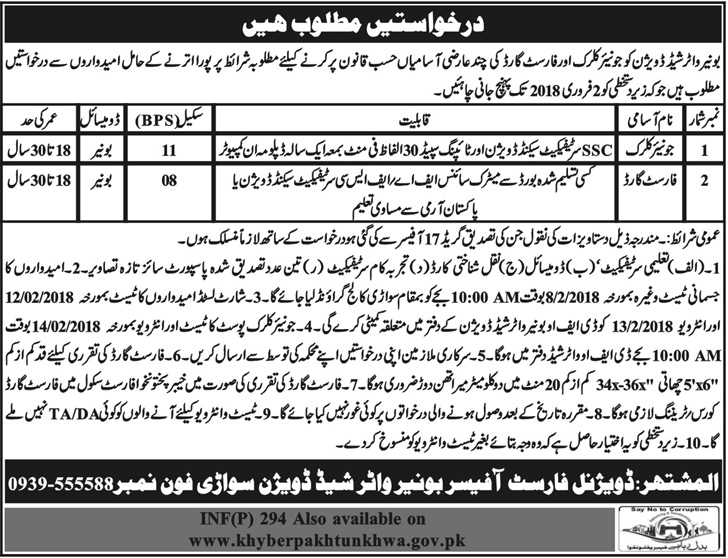 Govt. of Khyber Pakhtunkhwa, Forest Department New Jobs, 19 January 2018 Daily Mashriq Newspaper