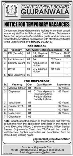 Cantonment Board Gujranwala, Faculty Required 24 January 2018 16 Jobs, Daily the News Newspaper