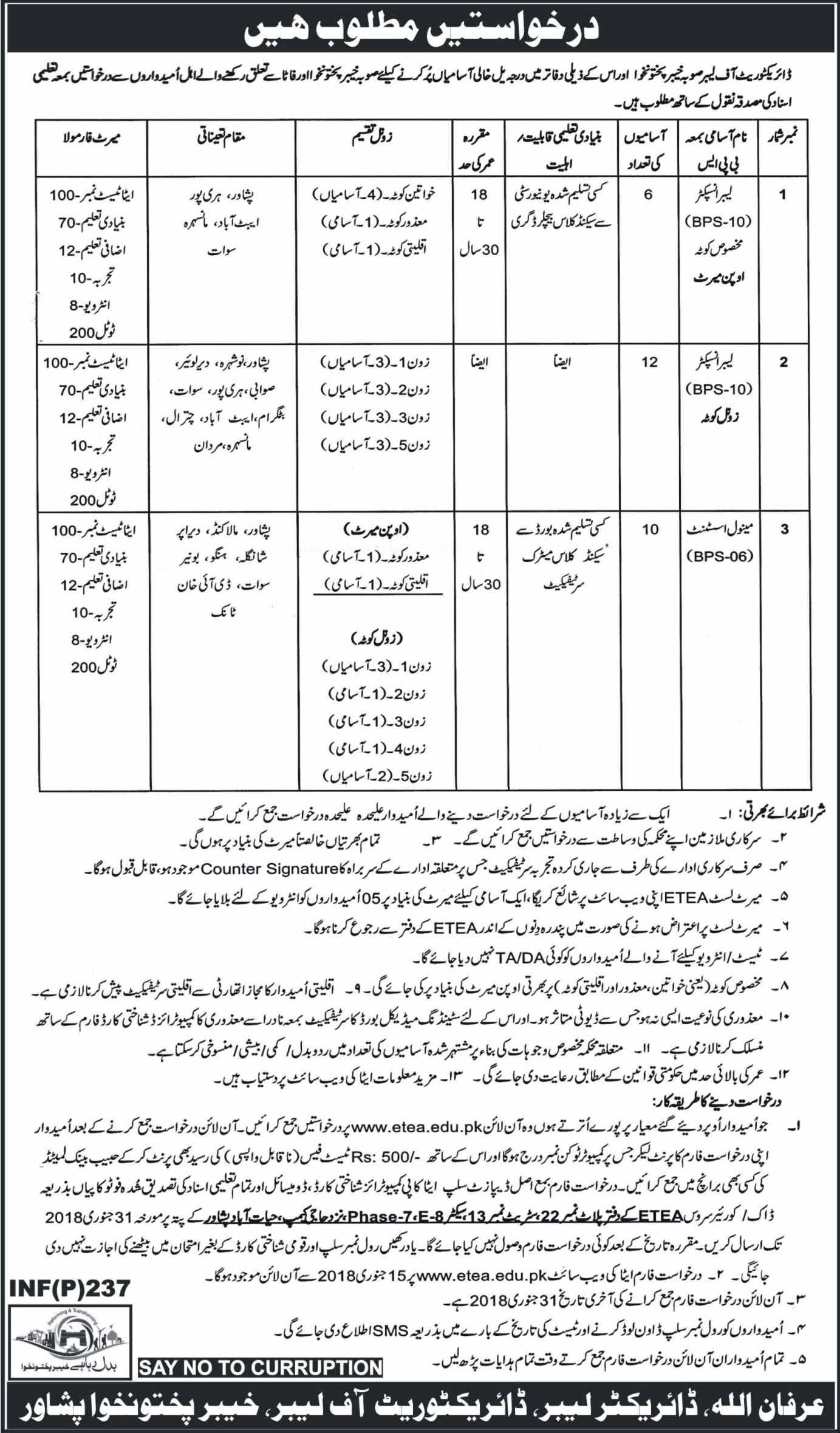 Khyber Pakhtunkhwa, Directorate of labor 28 Jobs, 16 January 2018 Daily Mashriq Newspaper.