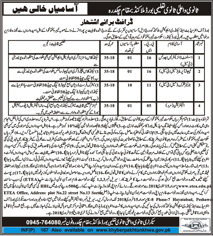 Malakand, Board of Intermediate & Secondary Education 13 Jobs, Daily Mashriq Newspaper.