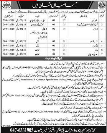 District Chiniot Population Welfare Department, 10 Jobs 06 January 2018 Daily Dunya Newspaper.