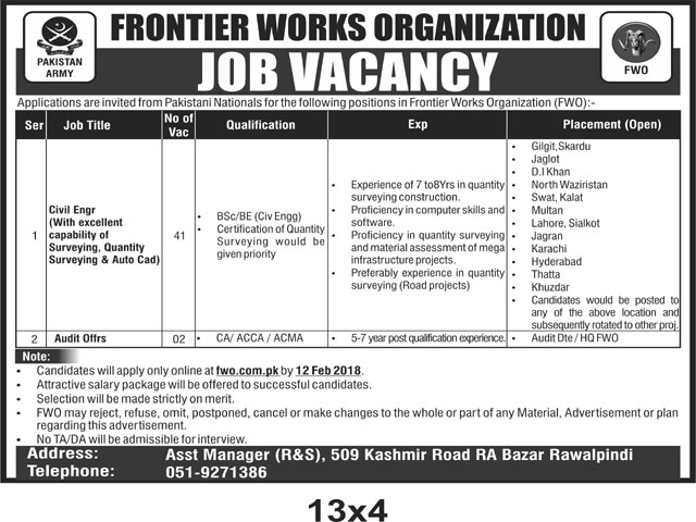 Rawalpindi, Frontier Works Organization 43 Jobs, 29/01/2018, Daily Nation Newspaper