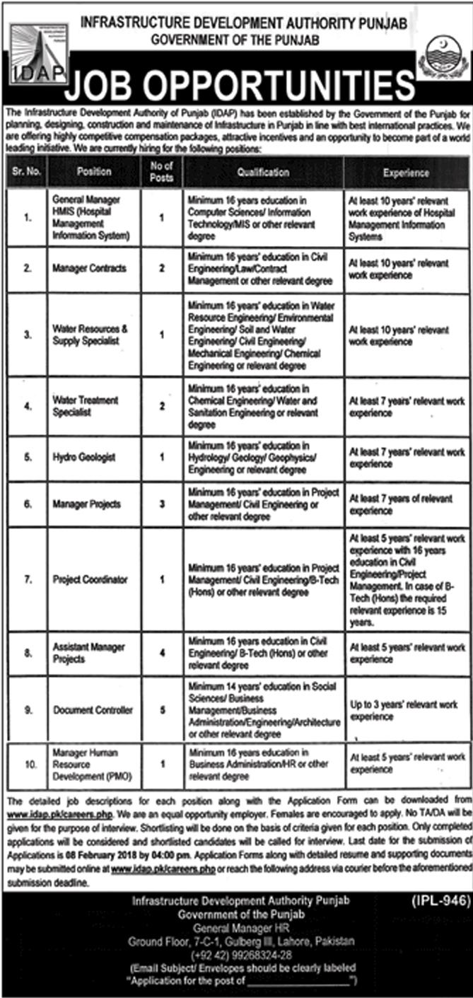 Govt. of the Punjab, Infrastructure Development Authority 21 Jobs, 22 Jan 2018 Daily Nawa-e-Waqat Newspaper.