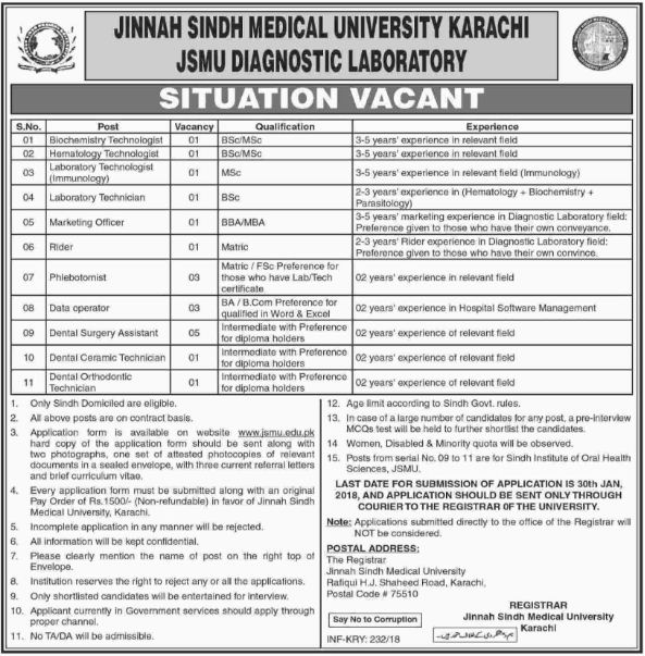 Karachi, Jinnah Sindh Medical University 19 Jobs, 14 January 2018 Daily the Dawn Newspaper.