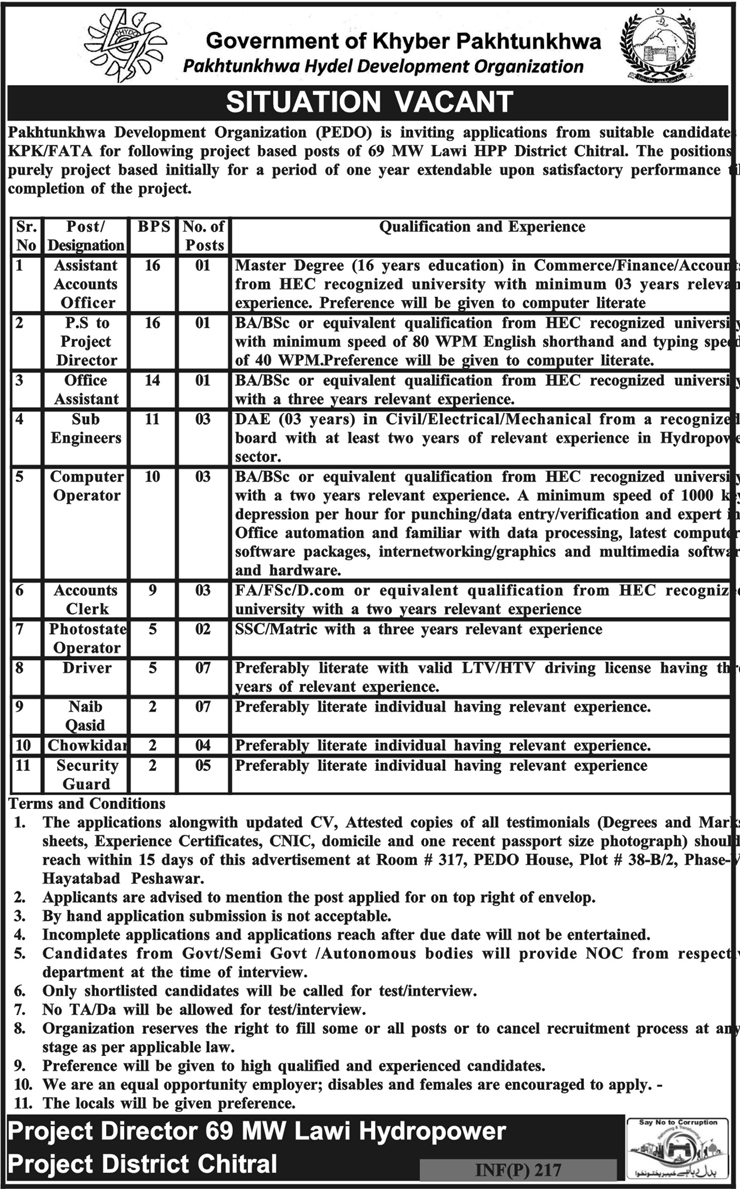Pakhtunkhwa Development Organization 37 jobs, 15 January 2018 Daily Mashriq Newspaper