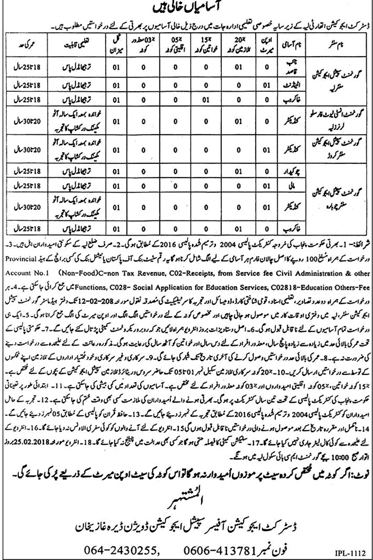 Layyah, District Education Authority 09 Jobs, January 2018, Daily Jang Newspaper