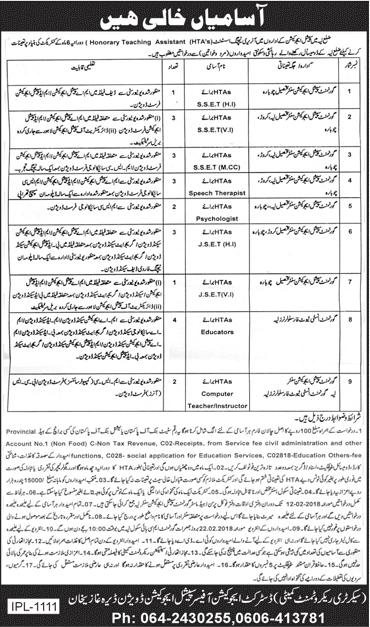 Layyah, District Education Authority 22 Jobs, January 2018, Daily Jang Newspaper